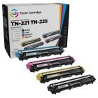 Set of 4 Brother Compatible TN221/TN225 Toners: BCMY