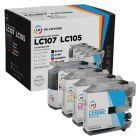 Set of 4 Brother Compatible LC107 and LC105 Ink Cartridges: BCMY
