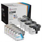 Set of 9 Brother Compatible LC20E Ink Cartridges: 3BK & 2 each of CMY